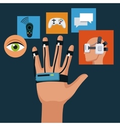 Wired sensor glove technology creativity icons vector