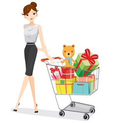 Woman and shopping cart full of gifts vector image