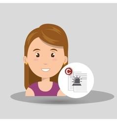 Woman documents confidential vector
