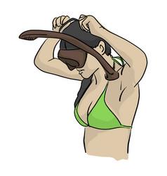 woman with bikini wearing snorkel vector image