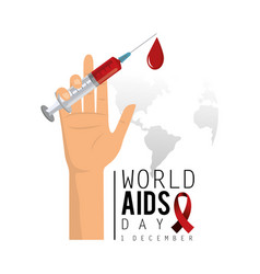 World aids day campaign and hand with syringe vector
