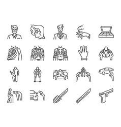 yakuza line icon set vector image