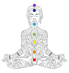 Yoga woman ornate silhouette sitting in lotus vector