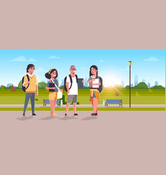 young teenage students group with backpacks and vector image