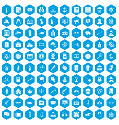 100 crime investigation icons set blue vector