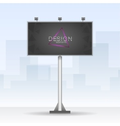Outdoor billboard with neon triangle element vector image