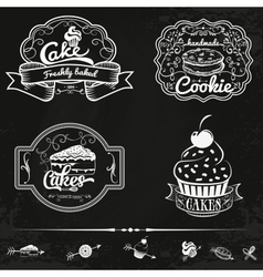 set of bakery and cakes labels design vector image