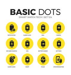 smart watch tech flat icons set vector image vector image