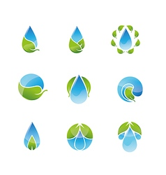 Water Leaf Icons Set vector image
