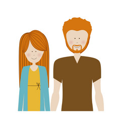 color silhouette half body with couple redhead and vector image
