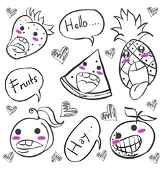 Doodle of fruit funny hand draw vector