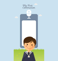 First communion child foreground on vertical card vector