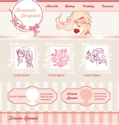 romantic template for web site vector image