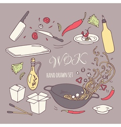 Set of hand drawn wok restaurant elements vector image vector image