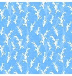 White plant silhouettes on blue seamless pattern vector image
