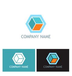 cube 3d company logo vector image