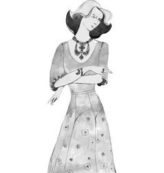 elegant lady vintage llustration vector image