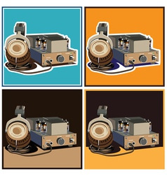 headphones and amplifier set vector image vector image