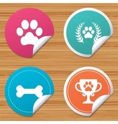 Pets icons dog paw sign winner laurel wreath vector