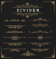 Set of horizontal flourishes divider vector image