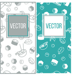 sushi mini poster set with japanese meal vector image vector image