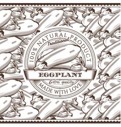 Vintage eggplant label on seamless pattern vector
