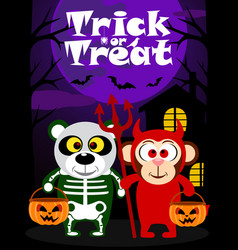 halloween trick or treating with animal vector image vector image