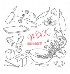 Set of outline hand drawn wok restaurant elements vector image vector image