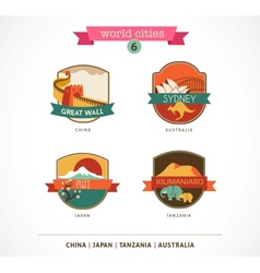 World Cities labels - Sydney Great Wall Fuji vector image vector image