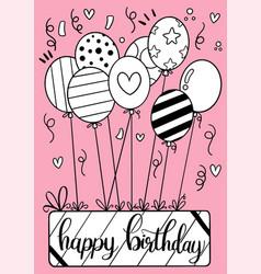 0001 hand drawn happy birthday greeting card vector