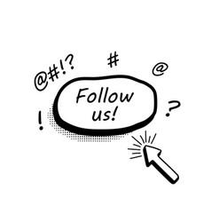 abstract follow us botton for social media vector image