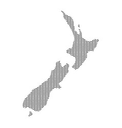 abstract new zealand country silhouette of wavy vector image