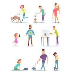 animal owners happy domestic pets with young male vector image