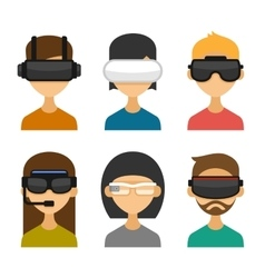Avatars with Virtual Reality Glasses Icon Set vector image