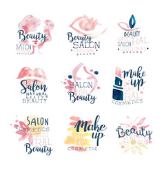 Beauty salon logo design set of colorful hand vector