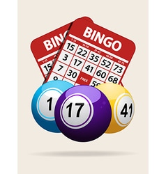 Bingo balls and red cards with shadow vector