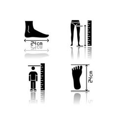 Body measurements drop shadow black glyph icons vector