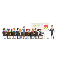 business lecture managers sitting in conference vector image