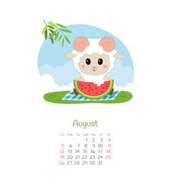 Calendar 2018 months august with sheep vector