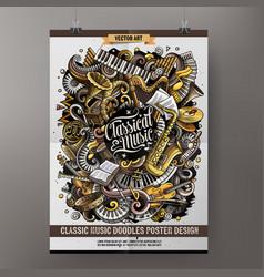 Cartoon hand drawn doodles classic music poster vector