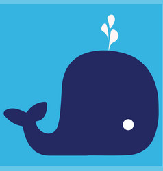cartoon whale with the fountain vector image