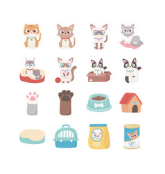 cats dog paw house food box ball pets vector image