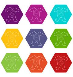 Children romper suit icons set 9 vector