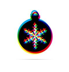 Christmas ball with snowflake flat icon vector image