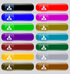 Church Icon sign Set from fourteen multi-colored vector