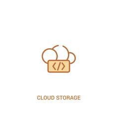 cloud storage concept 2 colored icon simple line vector image
