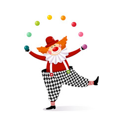 clown juggling with colorful balls vector image