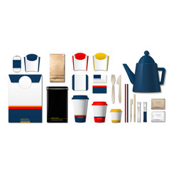 Coffee or tea packaging products mock up cups vector