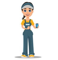Courier woman holding smartphone professional vector