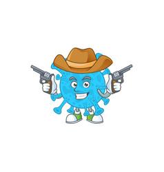 cowboy cartoon coronavirus backteria holding guns vector image